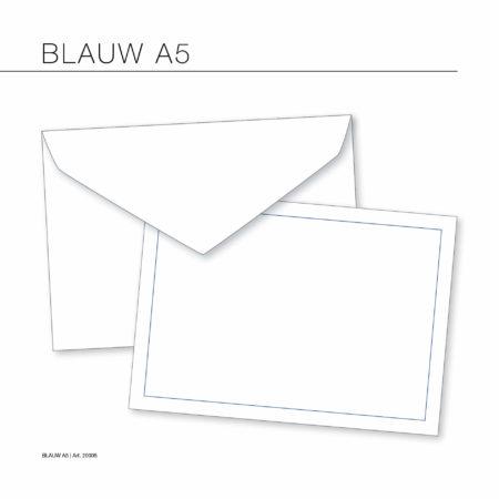 Rouwkaart Env – 15.6 x 22 cm. (Wit) blauw kader